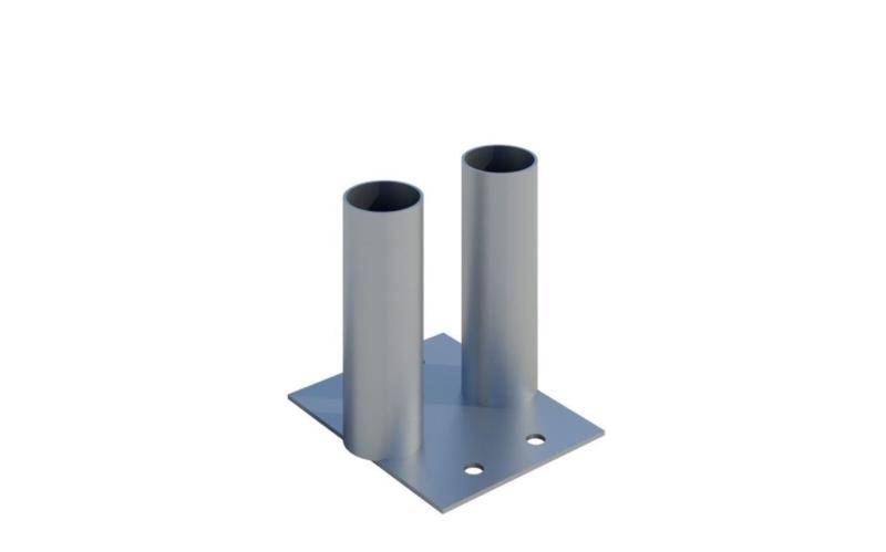 Metallfundament till byggstängsel