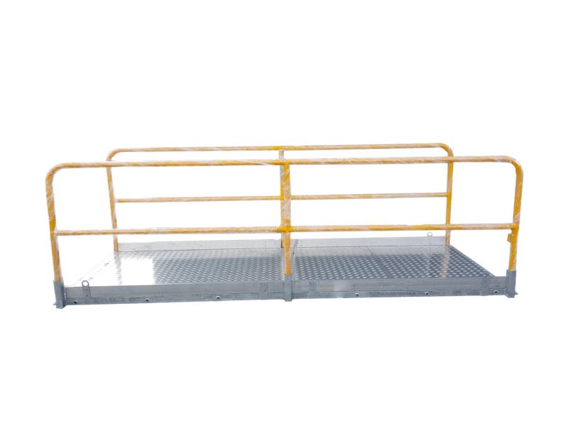 Aluminium Gångbrygga med vikbar gul räcke